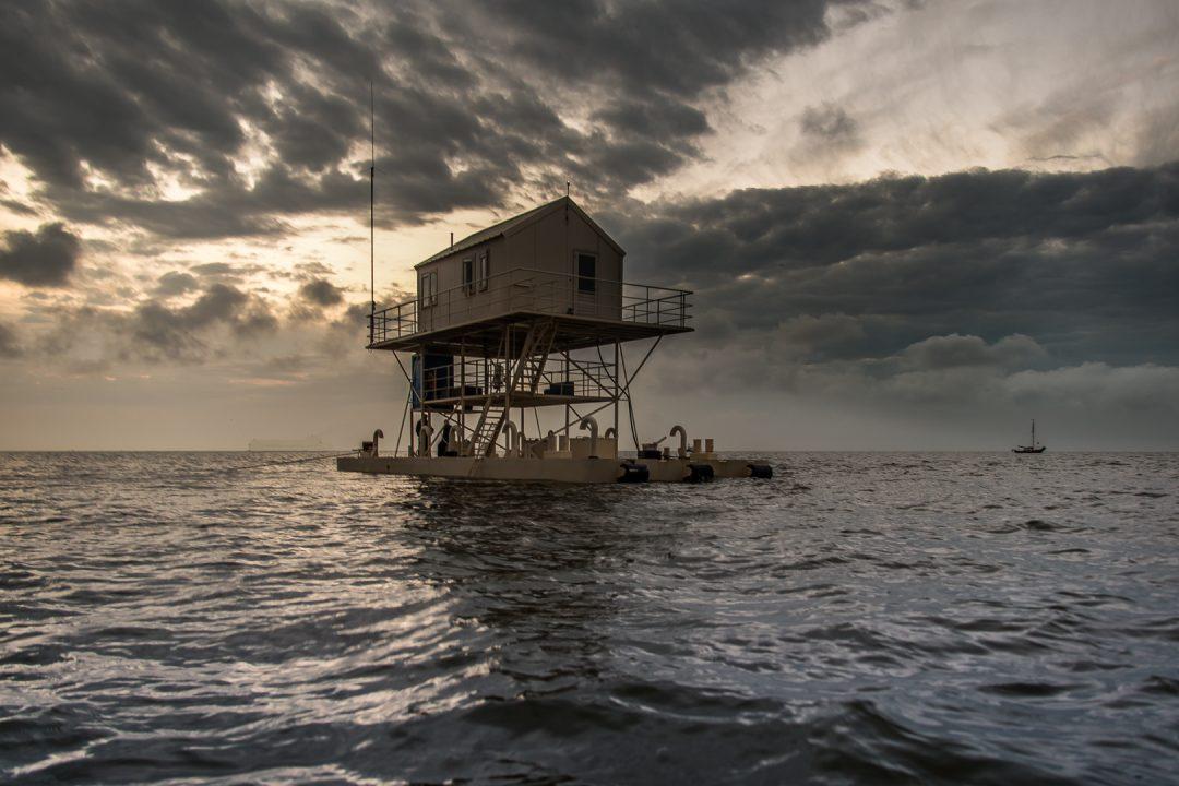 De Wadtoren van het N.I.O.Z. op het eiland Richel ten zuid-oosten van Vlieland.