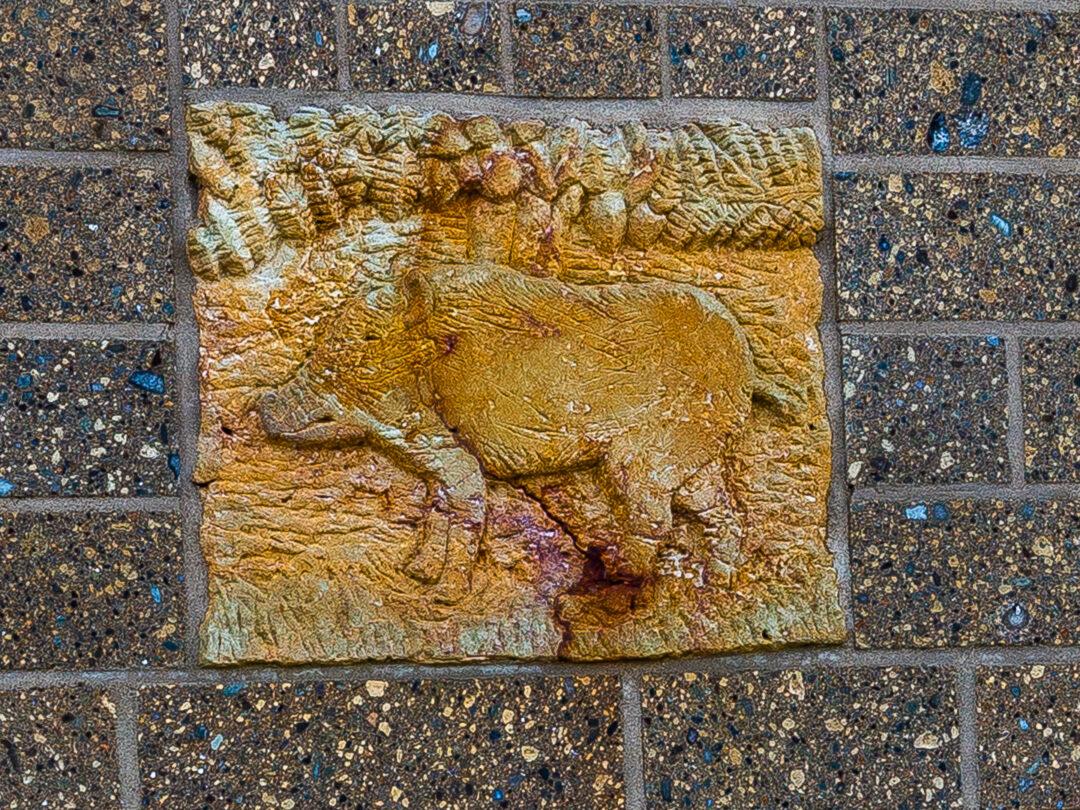 Het varken boven het Noormannendeurtje van de Heidense Kapel